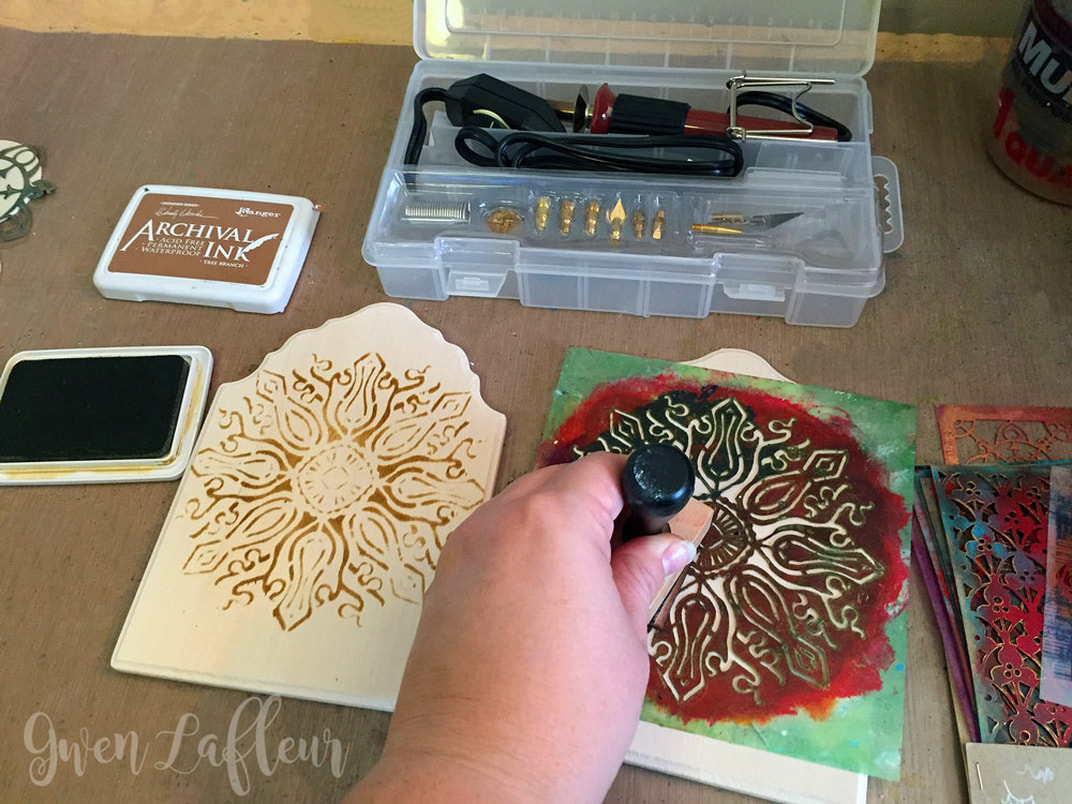Stenciled and Wood Burned Diptych Photo Frame Tutorial Step 1 | Gwen Lafleur