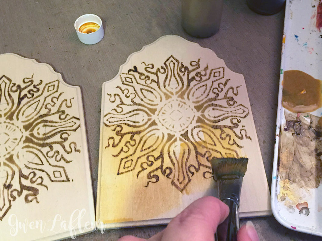Stenciled and Wood Burned Diptych Photo Frame Tutorial Step 3 | Gwen Lafleur