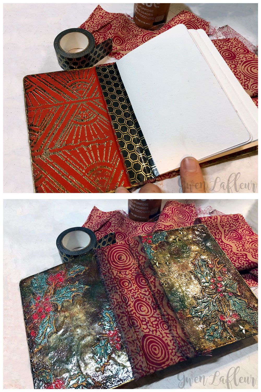 Embossed Mini Winter Art Journal Tutorial Steps 11-12 | Gwen Lafleur