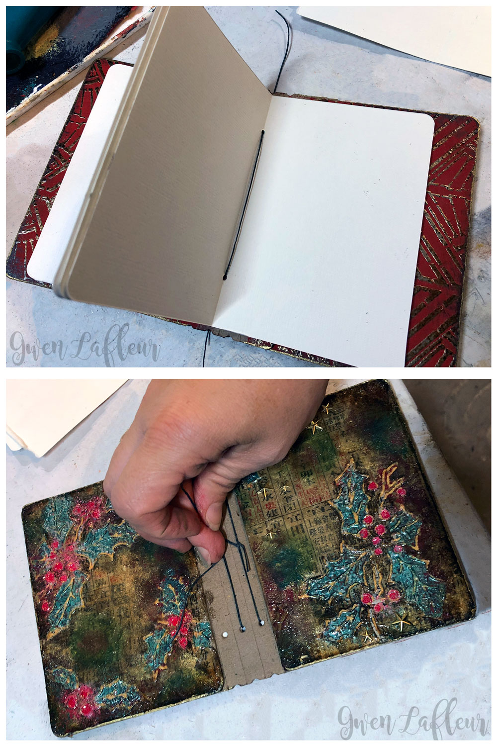 Embossed Mini Winter Art Journal Tutorial Steps 9-10 | Gwen Lafleur