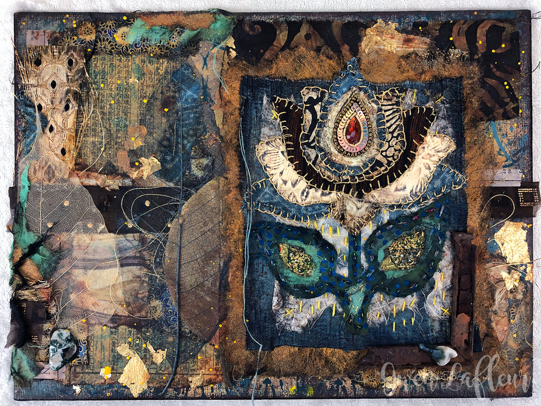 Lovely Lotus - Mixed Media and Textile Art by Gwen Lafleur