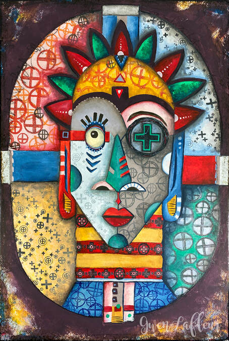 Illustrative Tribal Portrait Mixed Media Artwork by Gwen Lafleur